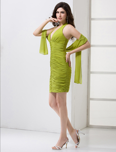 Hunter Green Pleated VNeck Chiffon KneeLength Cocktail Dress