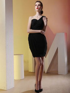 Modern Black One Shoulder Chiffon Short Special Occasion Dress