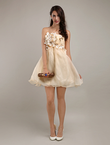 Modern Champagne Strapless Tulle Aline Womens Homecoming Dress