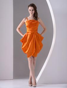 Image of Abito homecoming arancione attillato piegato in raso elastico