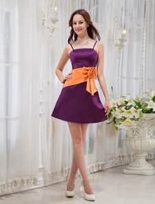 Purple Spaghetti Bow Pleated Satin Cocktail Dress