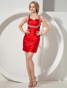 Image of Vestito da Cocktail rosso attillato moderno in raso elastico con