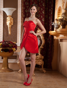 Red Sheath Pleated Sweetheart Neck Satin Cocktail Dress Cocktail Dress