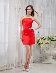Red Spaghetti Sheath Pleated Satin Cocktail Dress