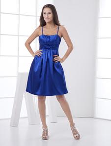 Image of Abbigliamento da Cocktail blu reale elegante in raso elastico con bretelle sottili a pieghe