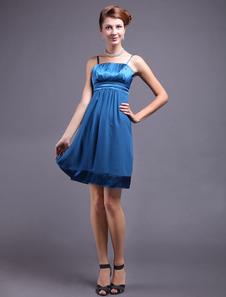 Royal Blue Spaghetti Pleated Silk Like Womens Cocktail Dress