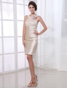 Image of Abito da cocktail champagne attillato elegante in satin elastico di pizzo Abiti per Ospiti di Matrimonio