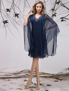 robe mre de maris en chiffon bleu marine fonc avec applique milanoo - Milanoo Robe De Soiree Pour Mariage