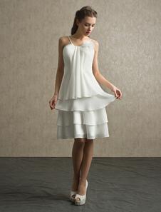 Ivory Bridesmaid Dress Spaghetti Straps Tiered Organza Dress