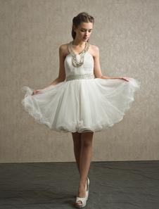 Ivory Rhinestone Tulle Aline KneeLength Bridesmaid Dress with Pretty Halter Neck
