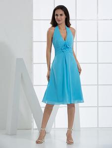 Blue Deep VNeck Flower Pleated Chiffon Cocktail Dress