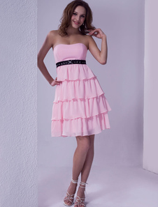 Pink Strapless Ruffles Satin Chiffon Summer Homecoming Cocktail Dress