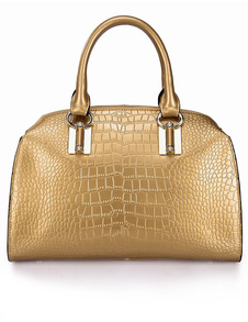 Casual Shiny Gold Animal Print Cowhide Womans Tote Bag