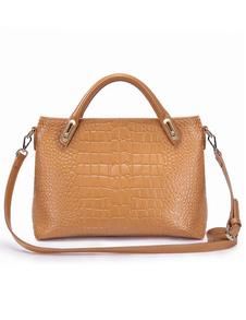 Fashion Apricot Animal Print Cowhide Womens Tote Bag