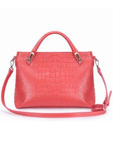 Charming Red Animal Print Cowhide Womens Tote Bag