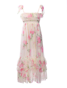 Tiered Floral Pleated Chiffon Womens Maxi Dress