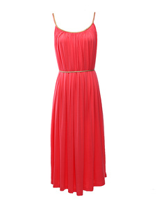 Bohemian Solid Color Pleated Cotton Straps Neck Womens Maxi Dress