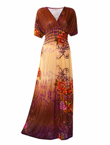 Brown Floral Print Lycra Spandex Maxi Dress for Woman