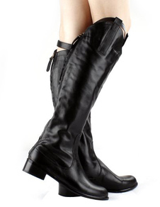 Black Cow Leather Knee Length Boots