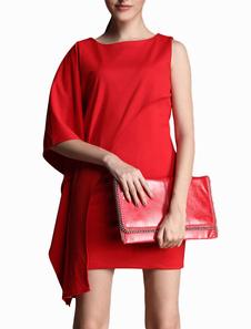 Chic Unique Red Crewneck Tiered Roman Knit Mini Dress