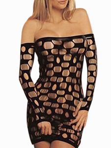 Image of Bateau nero collo tagliato maniche lunghe Nylon Club abito per la donna