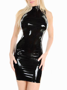 Black Halter Backless Faux Leather Club Dress