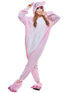 Kigurumi Pajama Pig Onesie For Adult Pink fleece Flannel Animal Costume