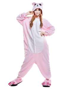 Kigurumi Pajama Mouse Onesie For Adult Pink fleece Flannel Animal Costume