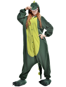Kigurumi Pajama Dinosaur Onesie For Adult fleece Flannel Green Animal Costume