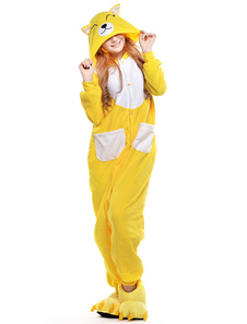 Kigurumi Pajama Fox Onesie For Adult fleece Flannel Yellow Animal Costume