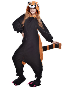 Kigurumi Pajama Raccoon Onesie For Adult fleece Flannel Black Animal Costume