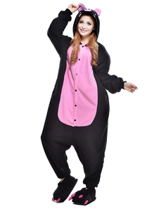Kigurumi Pajama Pig Onesie For Adult fleece Flannel Two Tone Animal Costume