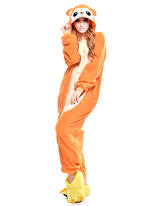 Kigurumi Pajama Monkey Onesie For Adult fleece Flannel Yellow Animal Costume