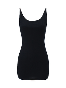 Image of Mini abito simpatico nero in cotone smanicato alla moda