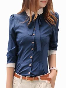 Image of Camicia chic moderna bicolore in spandex per donna
