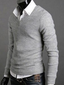 light-gray-v-neck-pullover-knitwear