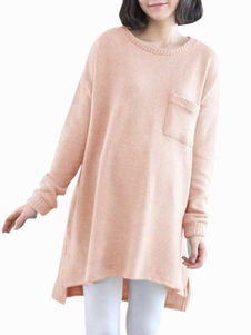 pink-long-sleeves-cotton-maternity-pullover-sweater