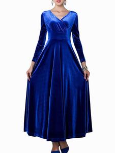 Retro VNeck Solid Color Velvet Womens Maxi Dress