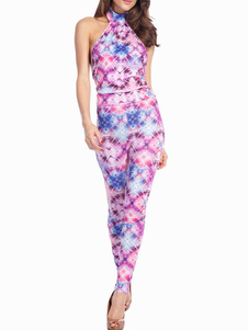Glowing Floral Print Halter Sleeveless Polyester Shaping Womens Jumpsuit