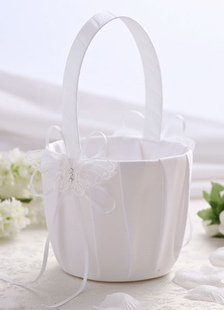 Flower Girl Basket with Ribbon and Lace