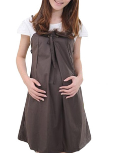 cozy-brown-cotton-short-sleeves-scoop-neck-maternity-dress