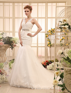 Mermaid Rhinestone Chapel Train Ivory Wedding Dress For Bride with VNeck Tulle  Milanoo