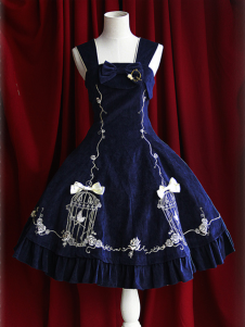 Classic Straps Neck Embroidered Lolita Jumper Skirt