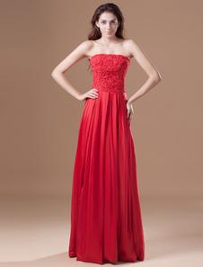 Vestito da sera elegante con paillettes in taffetà rosso senza spalline da ballo a terra