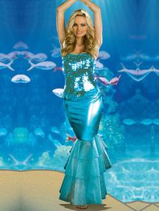 Disfraz de Sirena con lentejuela azul de moda Halloween