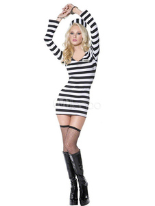 Split Color Sexy Prisoner Costume For Women