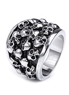 Image of Teschio d'argento grande anello teste in acciaio per uomo