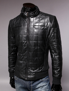 Daily Casual Long Sleeve Stand Collar  Mens PU Leather Jackets