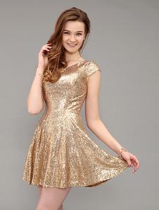short-golden-signed-v-neck-prom-dress-with-cap-sleeve