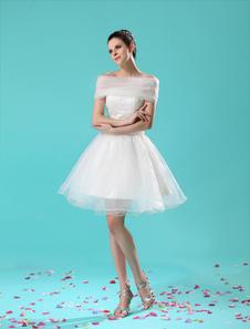 short-ivory-strapless-a-line-beading-wedding-dress-for-bride